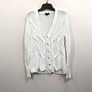 {Escada Sport} White Knit button Cardigan